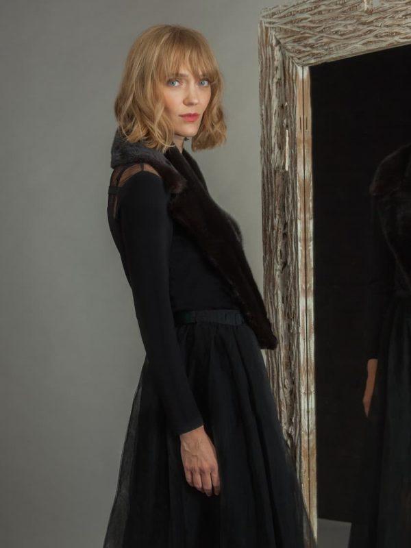 english style brown velvet Mink Fur Collar by NordFur