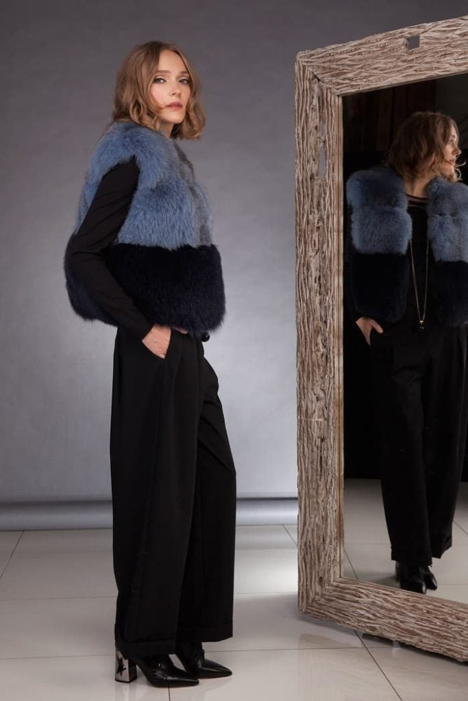 How to wear short dyed fox fur vest