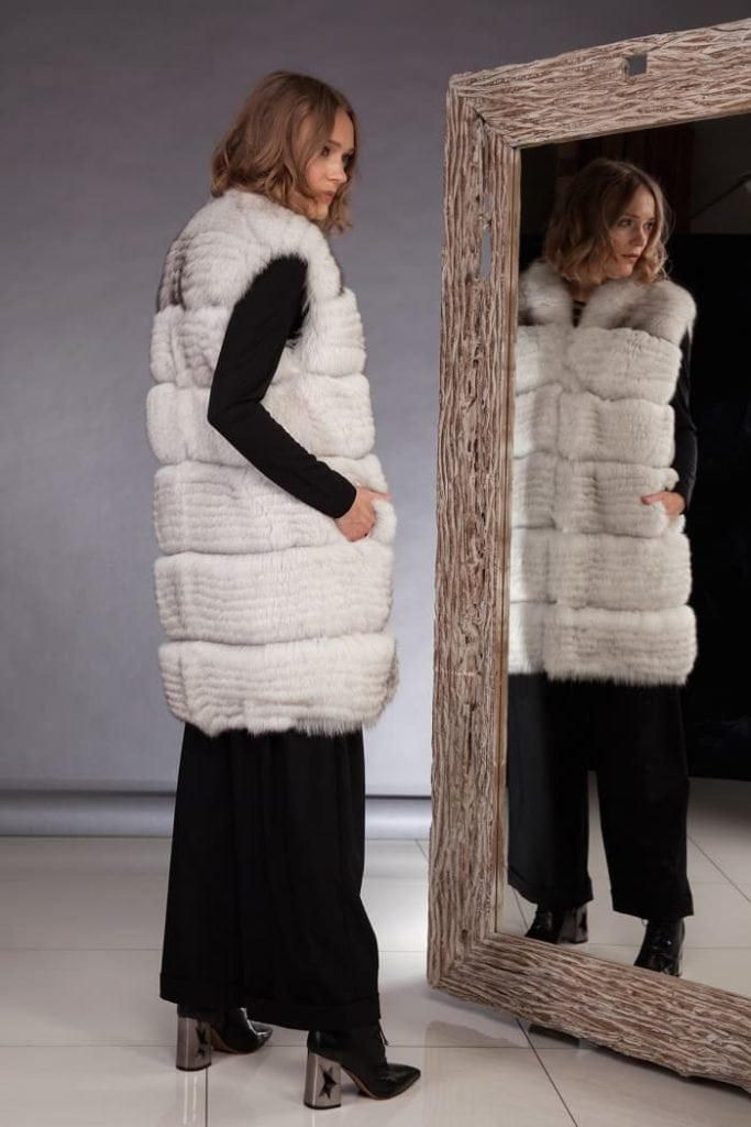 How to wear white fox fur vest