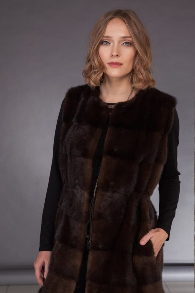 Long mink fur vest