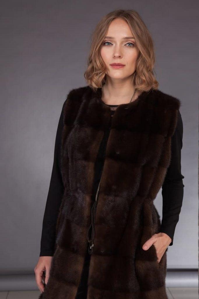 Long mink fur vest