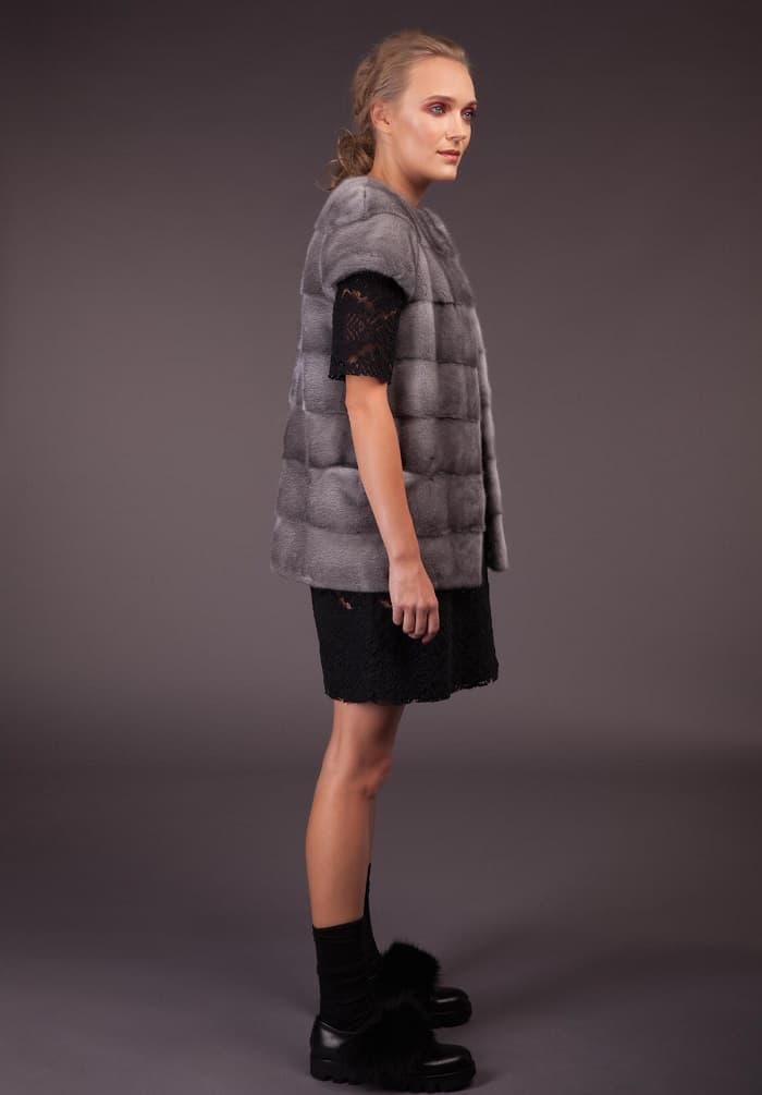 Short sapphire mink vest