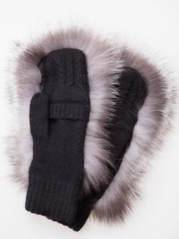 Knitted black wool fingerless mittens with silver fox fur