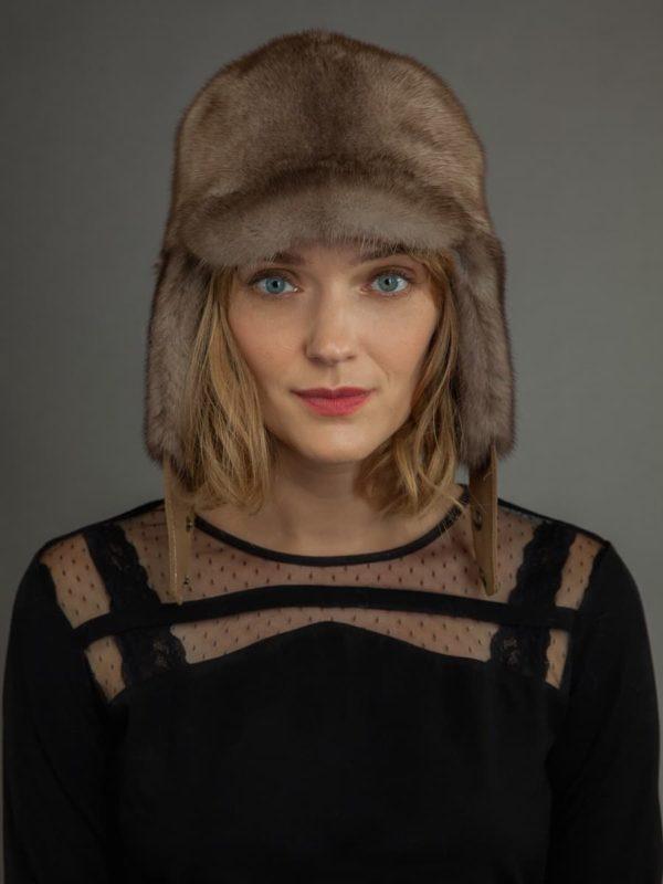 Mink Fur russian Ushanka trapper Hat Beige color