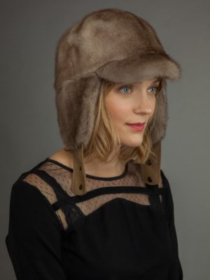 Mink Fur russian Ushanka trapper Hat Beige color