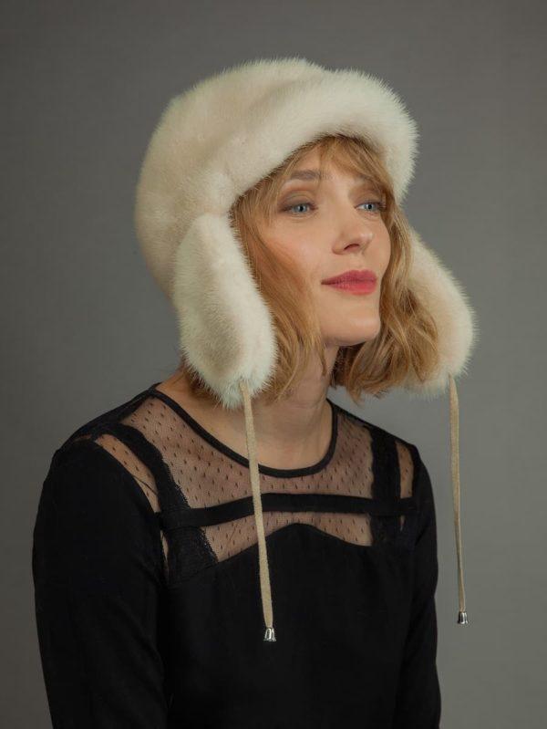 Natural pearl mink Fur russian trooper Ushanka Hat