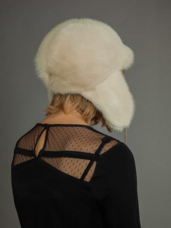 Natural pearl mink Fur russian trooper Ushanka Hat