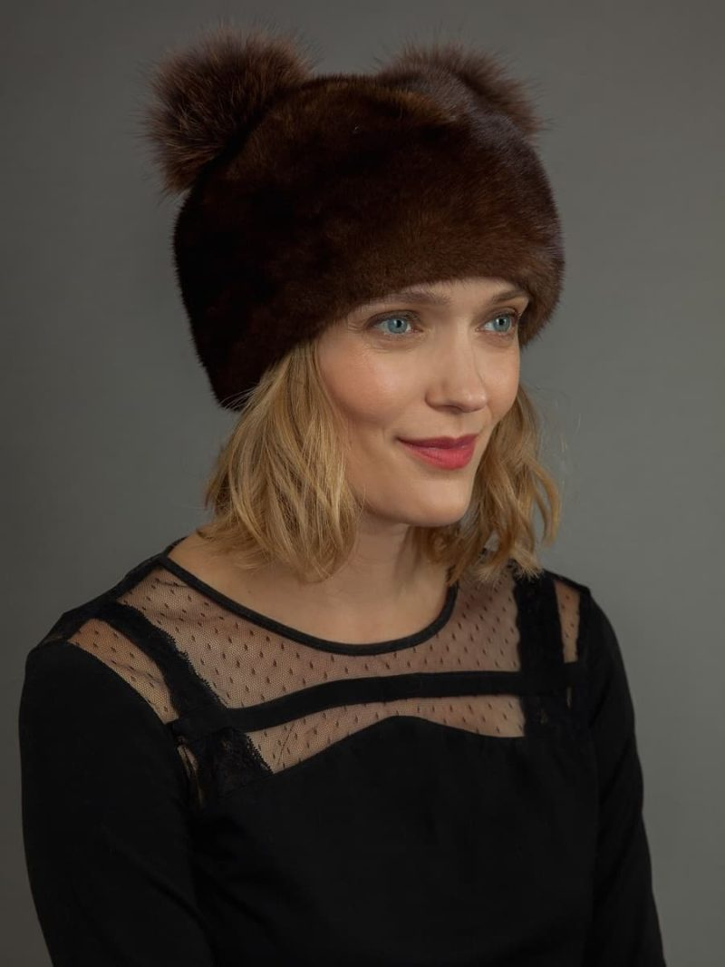 Round brown Mink fur hat with double fox pom-poms