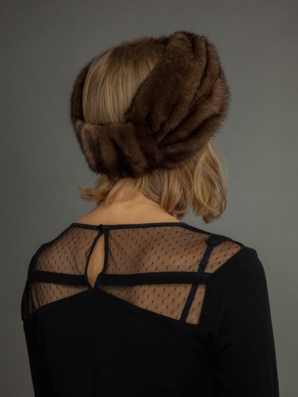 Natural brown mink fur headband by nordfur