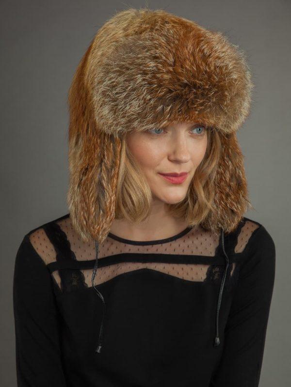 Red fox fur russian ushanka trooper hat