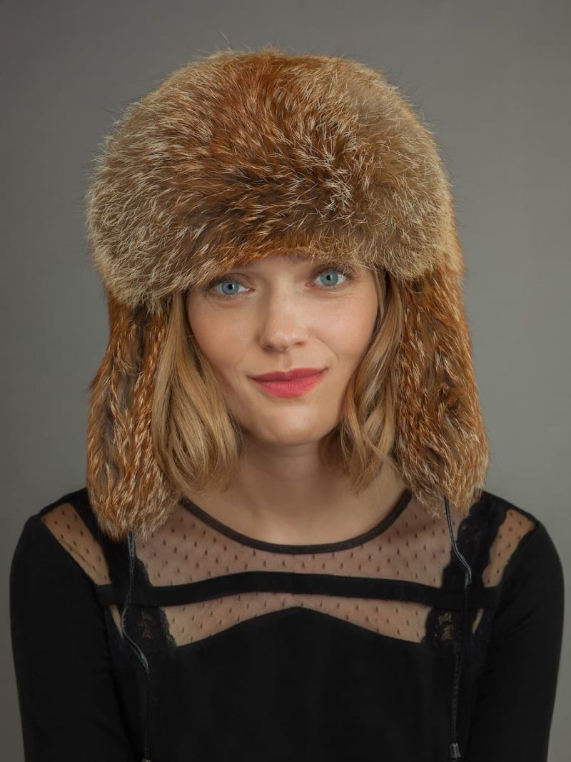 Red fox fur russian ushanka trooper hat
