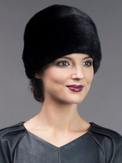 Round dyed black mink fur hat