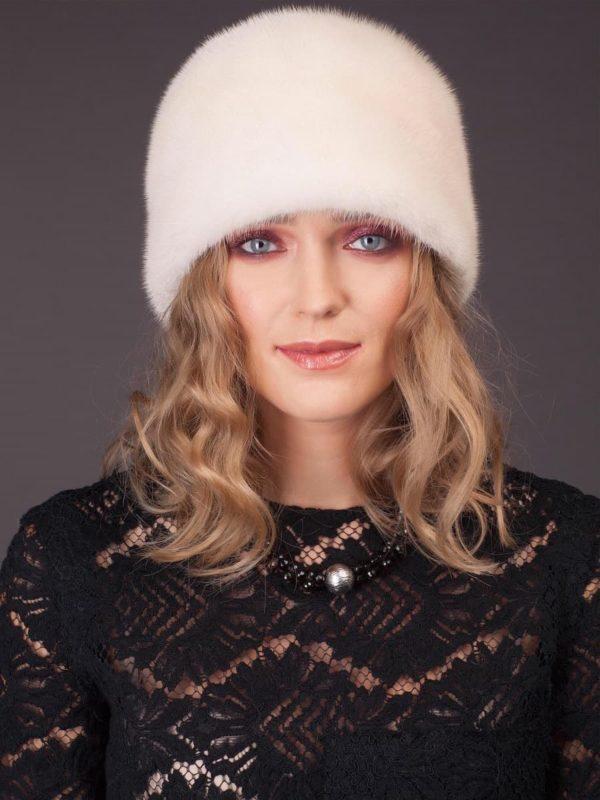 Round pearl mink fur hat