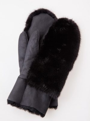 Sheepskin and black mink fur mittens