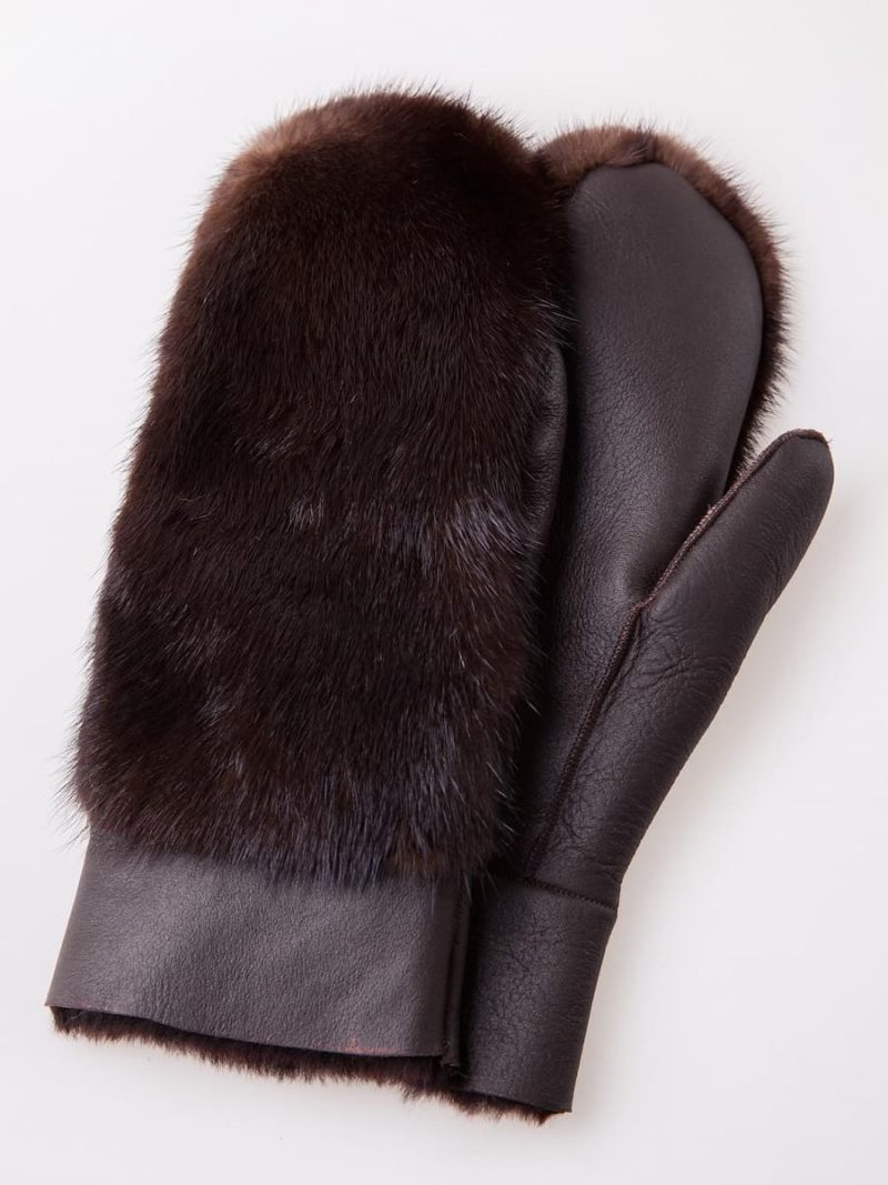 Sheepskin and brown mink fur mittens