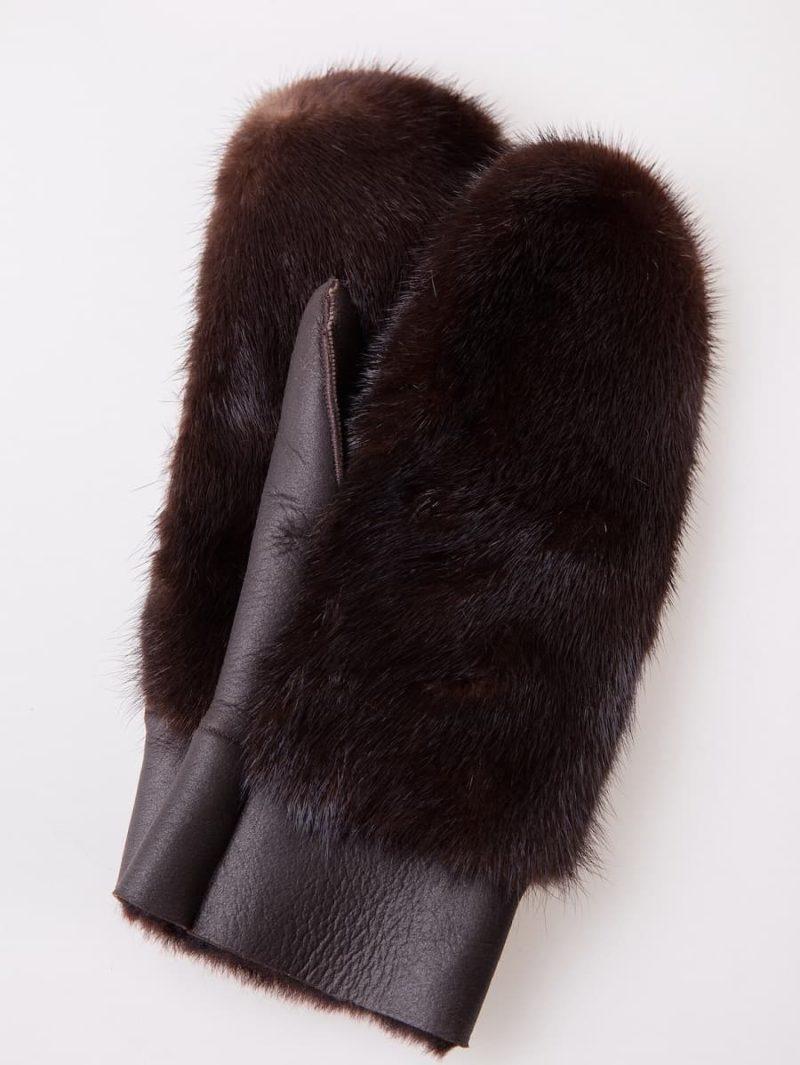 Sheepskin and brown mink fur mittens