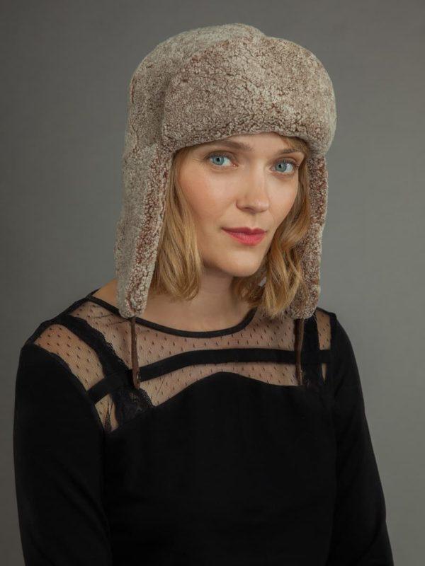 Sheepskin russian ushanka trapper hat