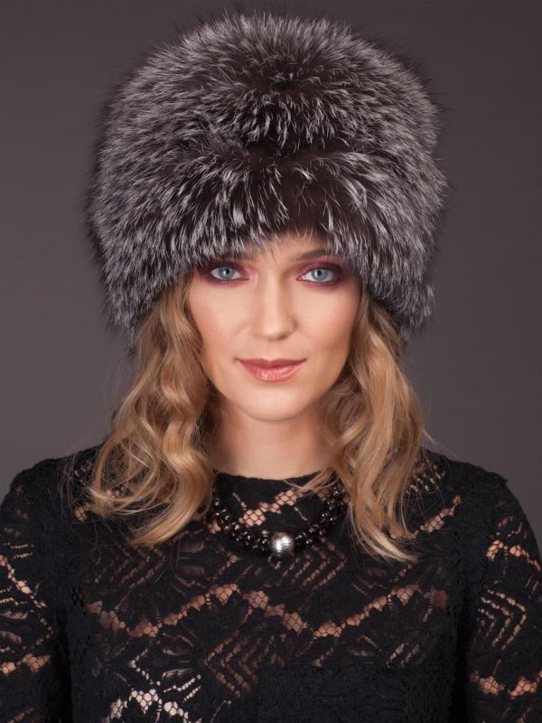 Silver fox fur hat with leather inserts and flat top