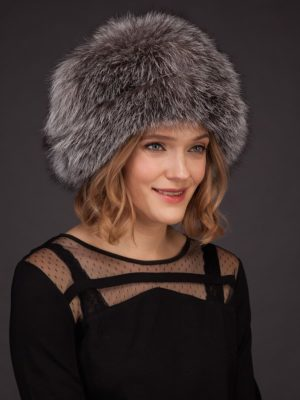 Silver fox fur hat with leather inserts and fur pom-pom by NordFur