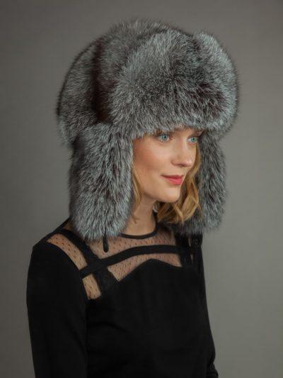 Silver fox fur russian ushanka trapper hat with ear flaps by NordFur