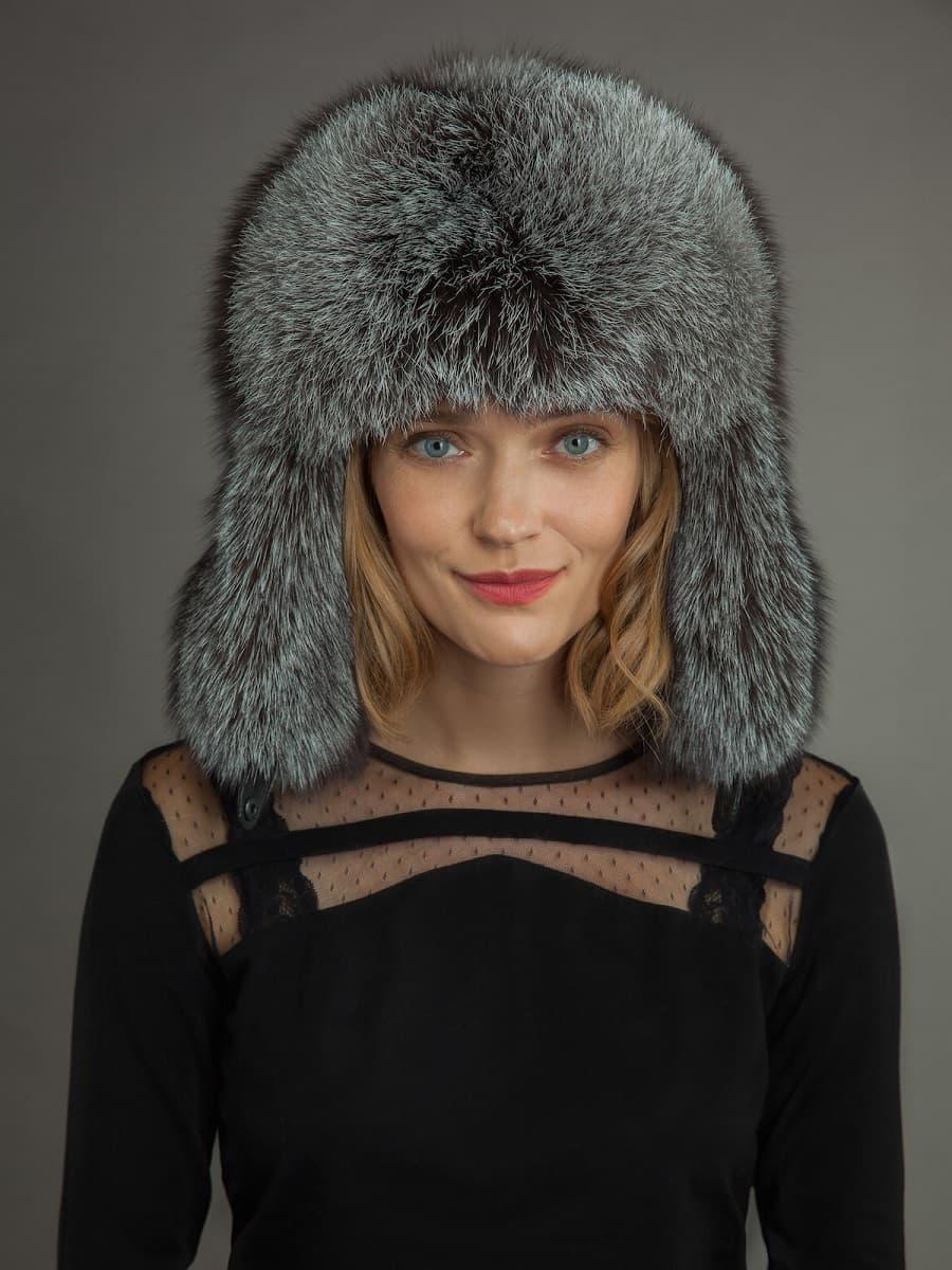 20b977738 Silver Fox Fur Ushanka Hat