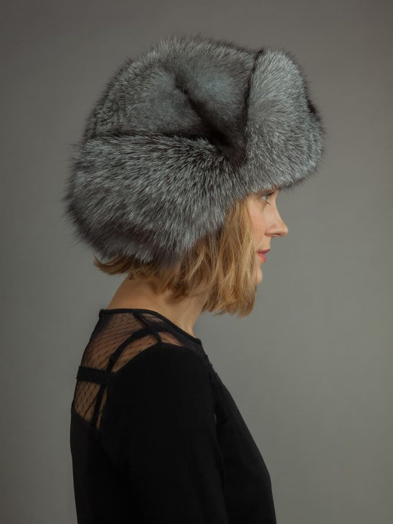 Silver fox fur russian ushanka trapper hat with ear flaps by NordFur