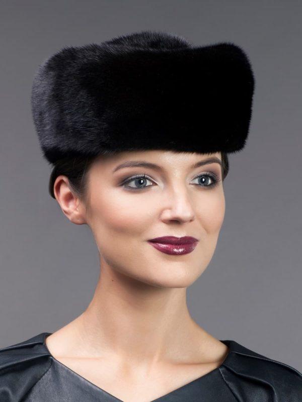 Vintage style black mink fur kubanka hat