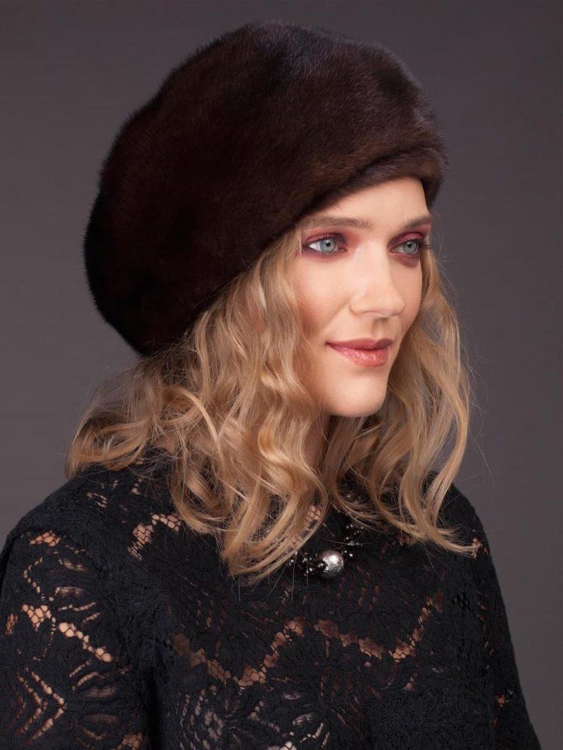 Vintage style brown mink fur beret