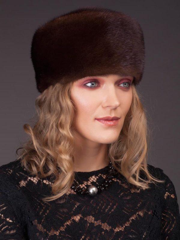 Vintage style brown mink fur hat by NordFur