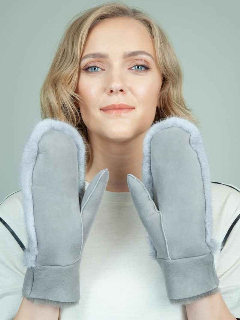 gray sheepskin sapphire mink fur mitten gloves for women