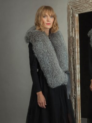 long silver fox fur collar tied with band