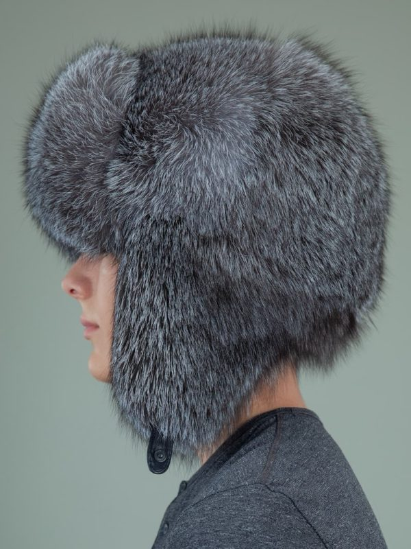 natural silver fox full fur russian hat with ears for men