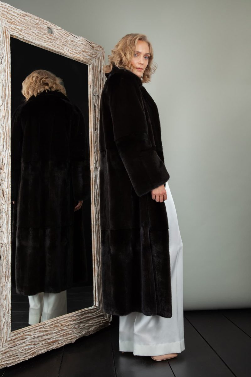 Black velvet mink fur coat with rever collar