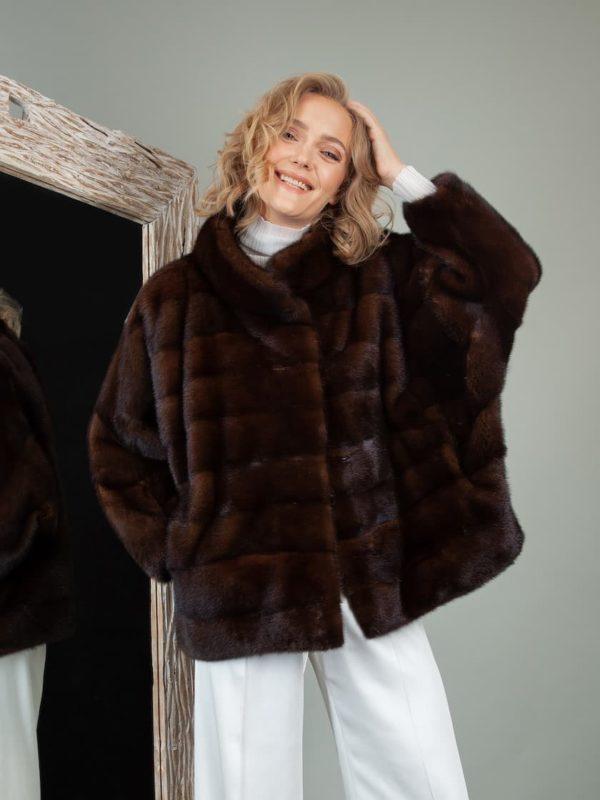 brown mink fur jacket with wide sleeves
