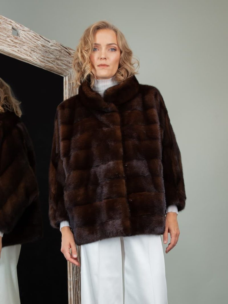 brown mink fur jacket with wide sleeves