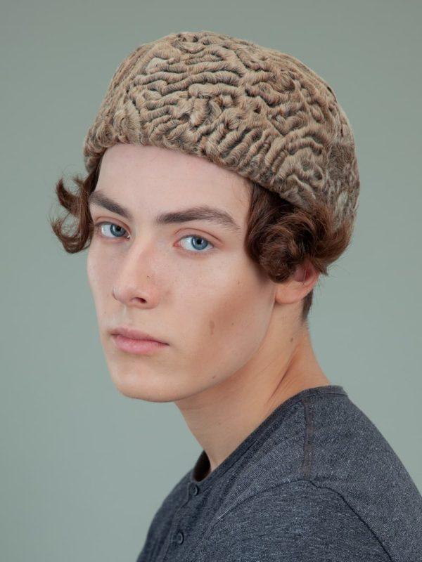 beige brown astrakhan karakul fur beret mens women