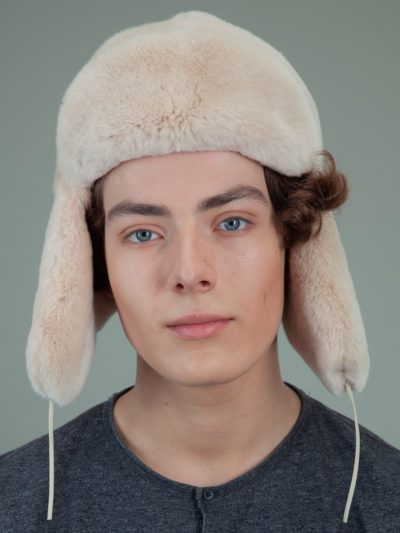 beige rex rabbit full fur russian hat with ears for men