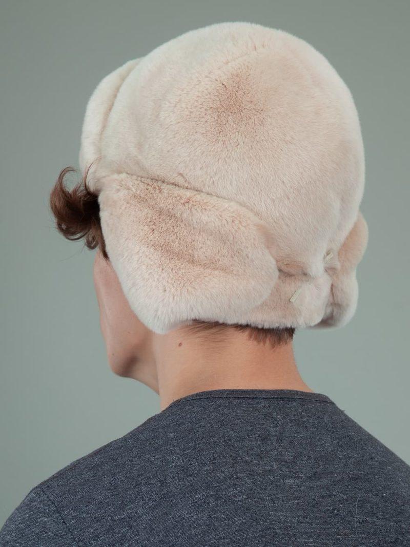 beige rex rabbit full fur russian hat with ears for men