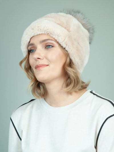 beige rex rabbit fur hat with brown fox pom-pom for women