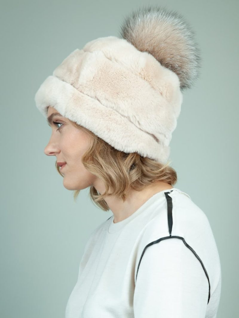 beige rex rabbit fur hat with brown fox pom-pom for women