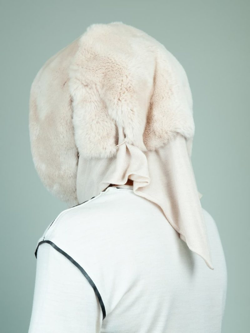 beige rex rabbit fur hooded scarf with cashmere lining for women