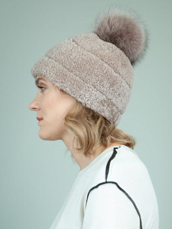 beige sheepskin fur hat with fox pom-pom for women