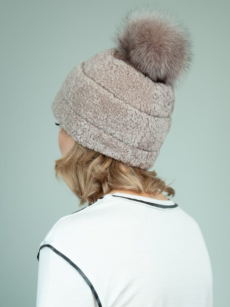 beige sheepskin fur hat with fox pom-pom for women