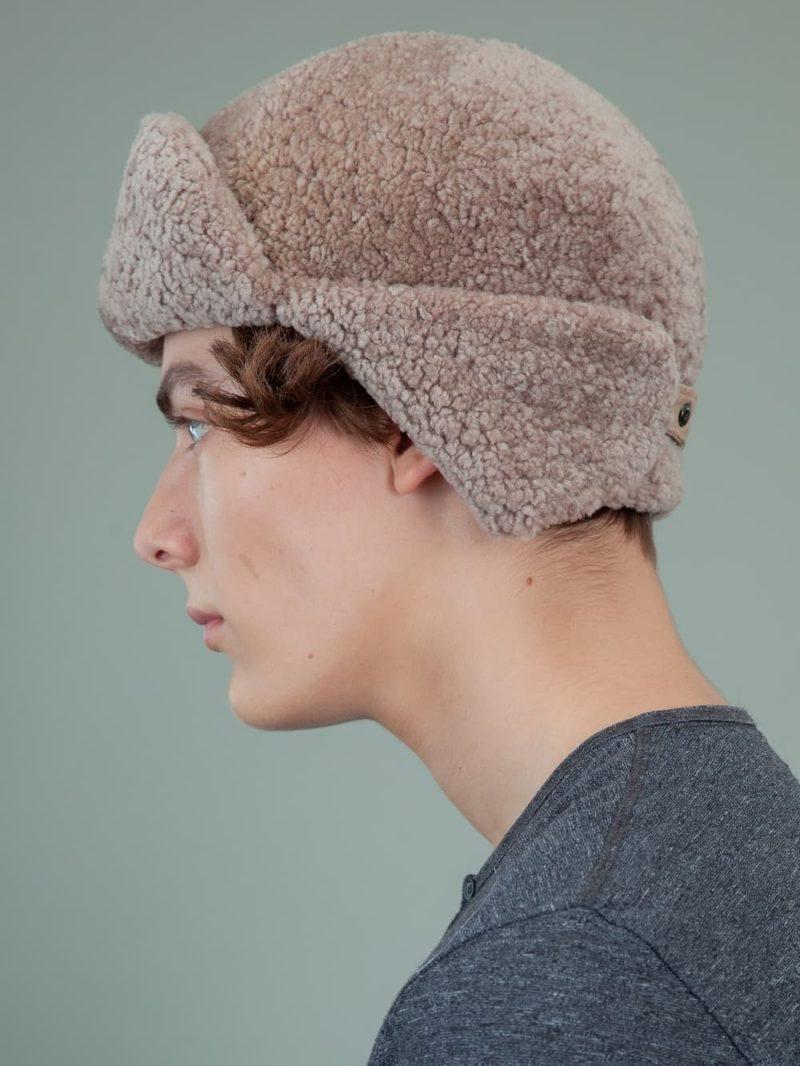 beige sheepskin trapper fur hat with ear flaps men