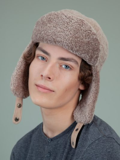 beige sheepskin trapper fur hat with ear flaps men