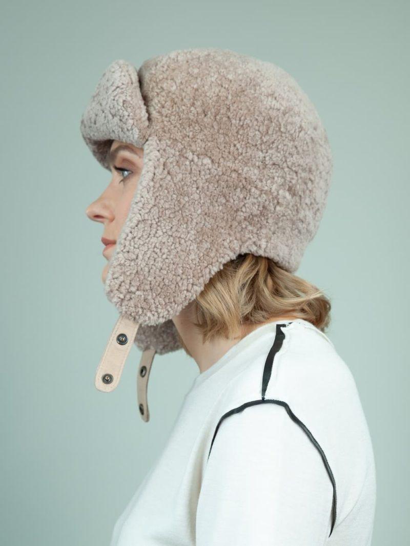beige sheepskin trapper fur hat with ear flaps for women