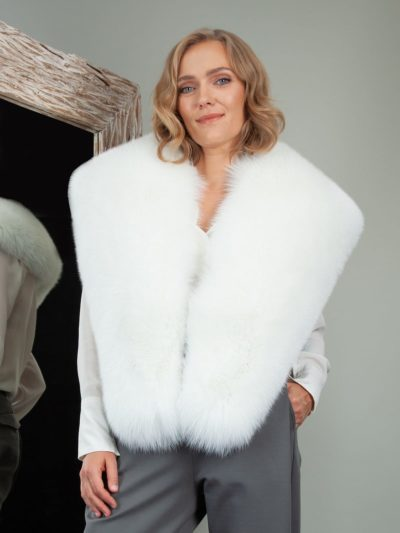 big natural white fox fur collar