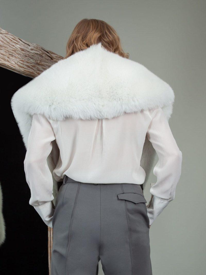 big natural white fox fur collar