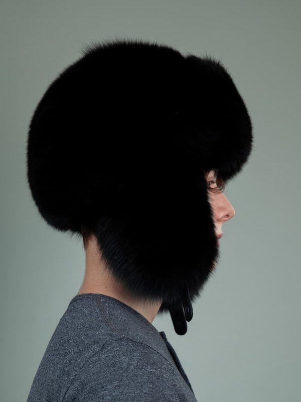 black fox full fur russian ushanka hat with ears for men women