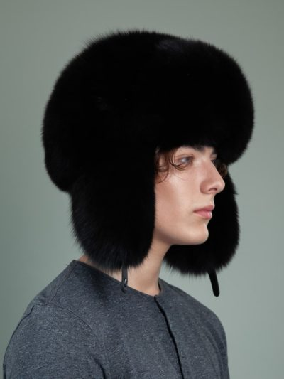 black fox full fur russian ushanka hat with ears for men women